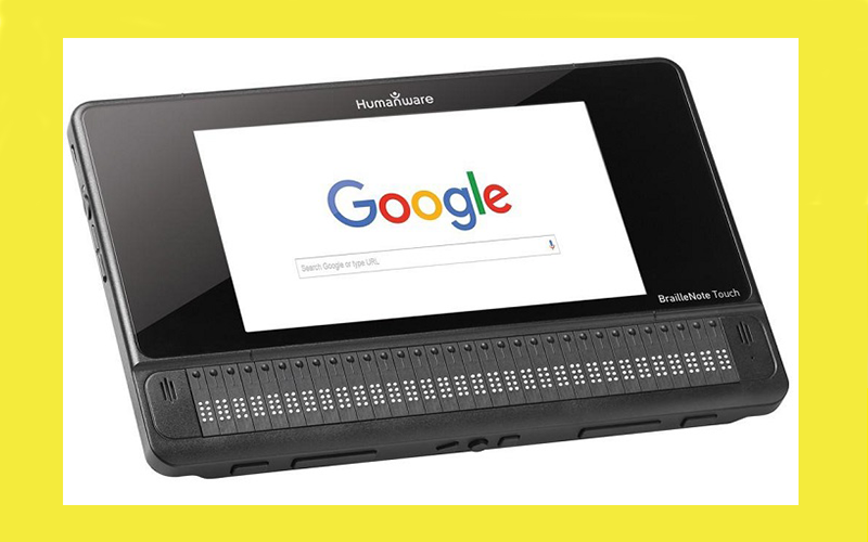 View of the Braille Note touch with Braille keyboard and Google home screen